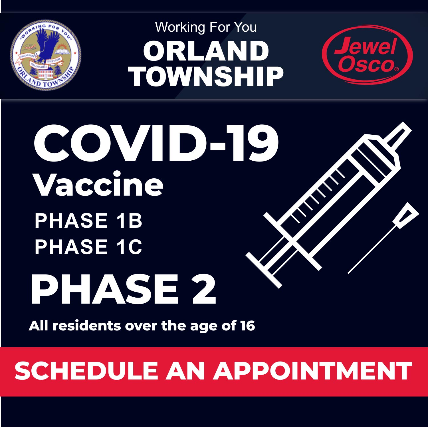COVID-19 VACCINE EVENT Orland Township Working For You